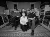 Guy Davis\' JUBA DANCE, released by DixieFrog, photograph of the recording team by Mario Rota: from left: Fabrizio Poggi, Dario Ravelli, Angelina, Guy Davis, Thom Wolke