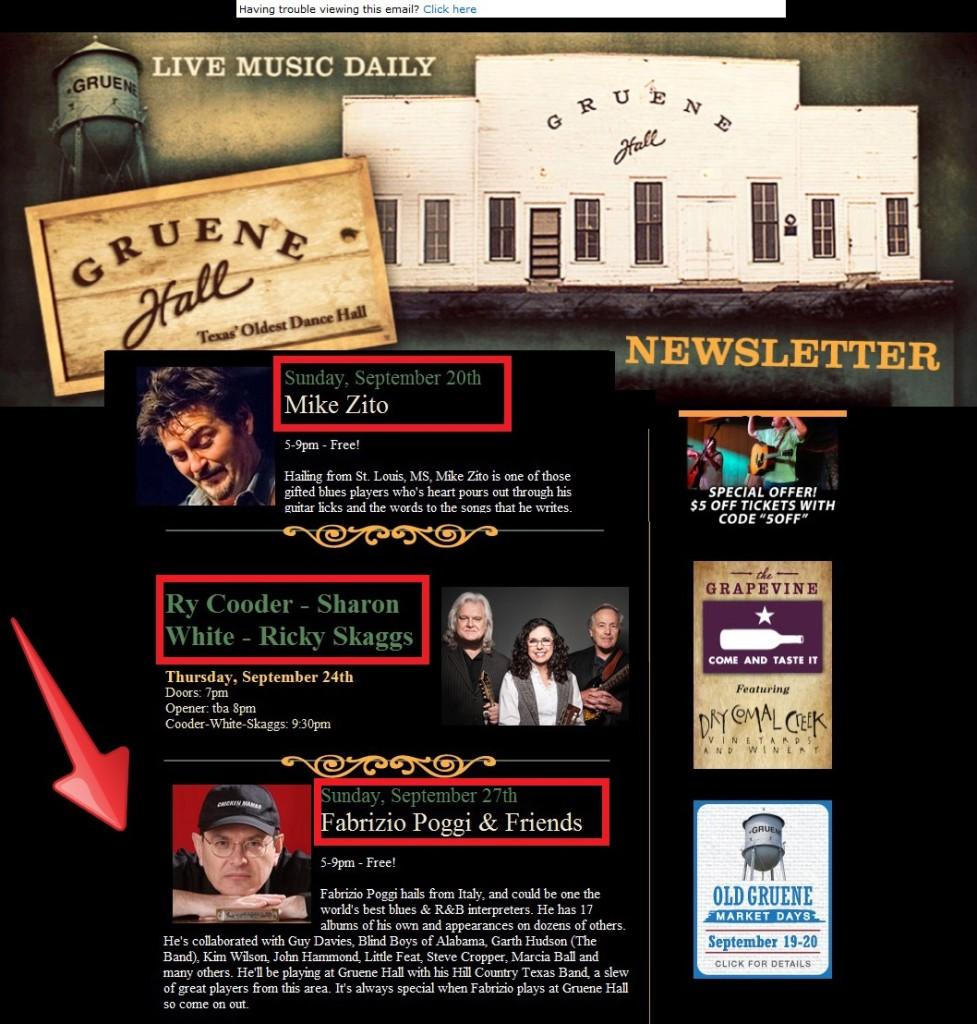 Fabrizio Poggi Texas tour 2015 live @Gruene Hall, Fredericksburg