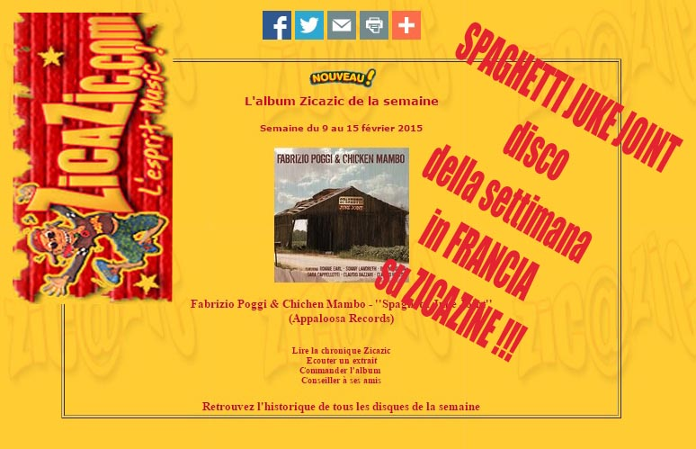 Fabrizio Poggi & Chicken Mambo \' Spaghetti Juke Joint is cd of the week in France
