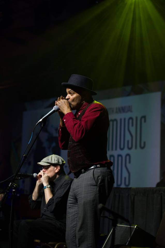 Fabrizio Poggi & Guy Davis live at the Blues Music Awards 2018 photo by Laura Carbone