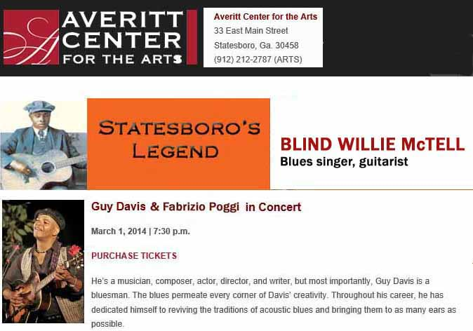 GUY DAVIS & FABRIZIO POGGI 2014 USA TOUR AVERITT CENTER ARTS Statesboro, Georgia