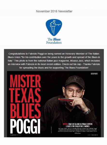 The Blues Foundation talks about Fabrizio Poggi\'s work about keeping the blues alive