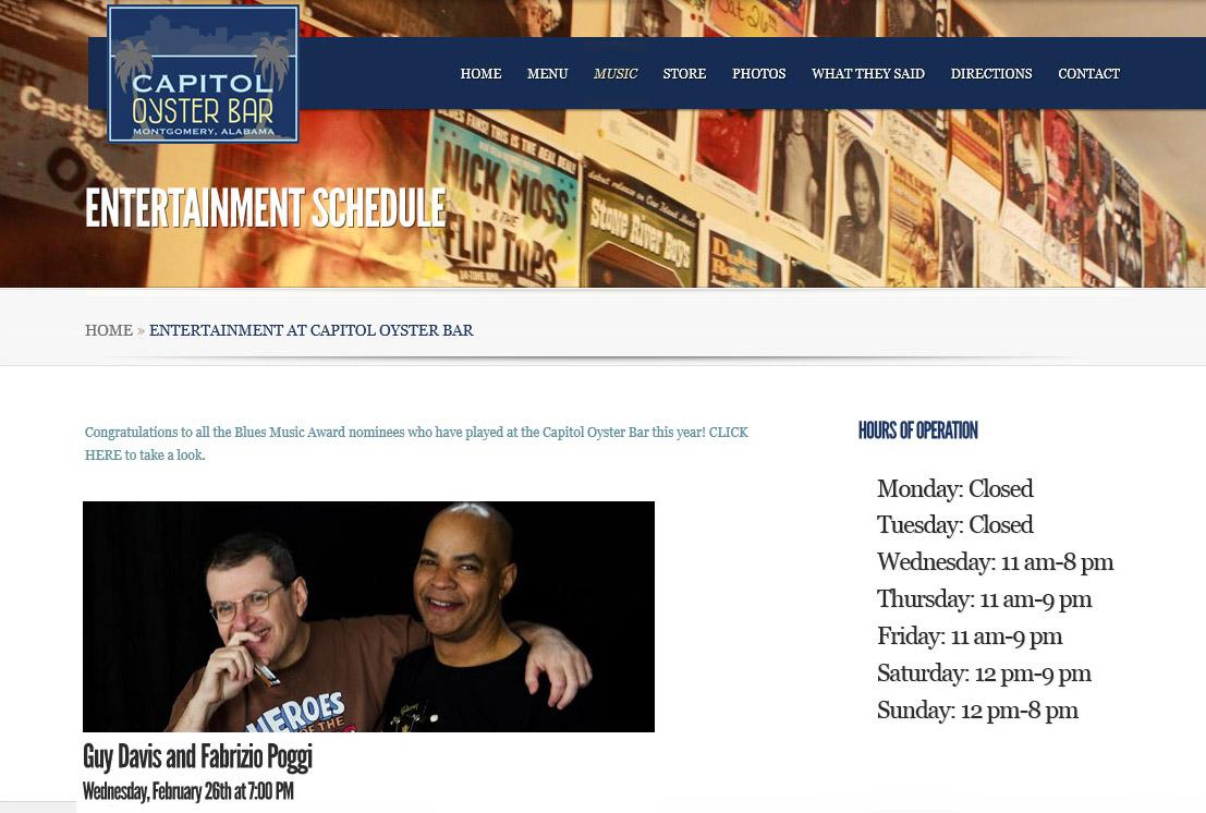 GUY DAVIS & FABRIZIO POGGI 2014 USA TOUR  CAPITOL OYSTER Montgomery, Alabama