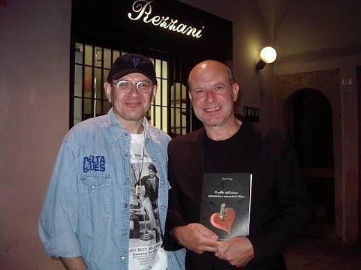 Fabrizio Poggi and Mark Feltham (Nine Below Zero) with his book