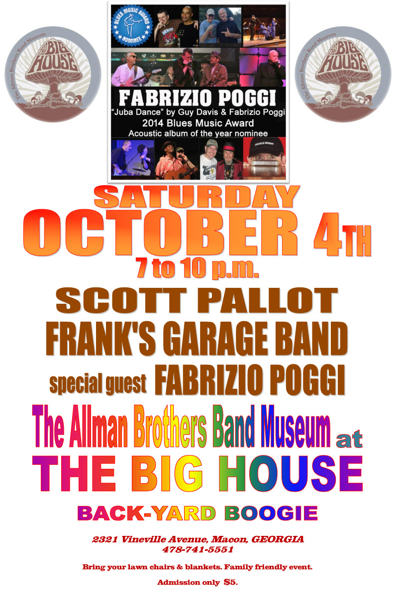 Fabrizio Poggi at The Allman Brothers Big House Museum in Macon, Georgia