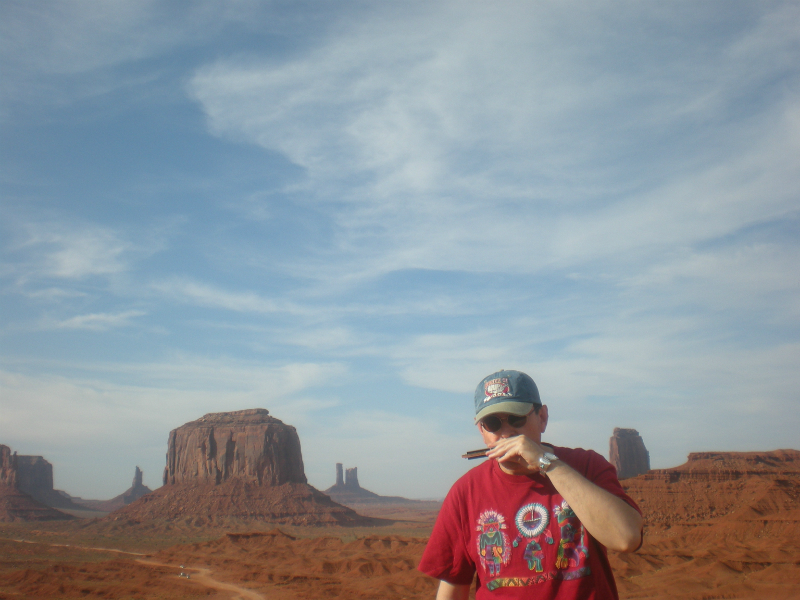 Fabrizio Poggi plays harmonica at the Monument Valley