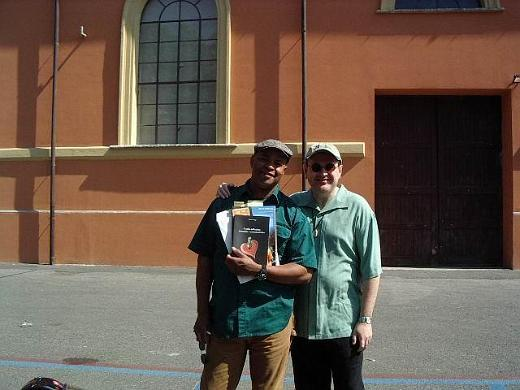 Guy Davis and Fabrizio Poggi with his book