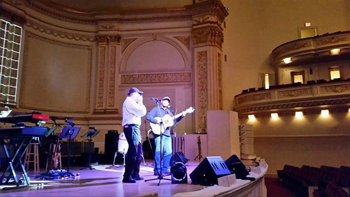 Guy Davis and Fabrizio Poggi sound check at Carnegie Hall