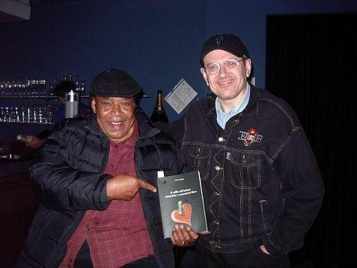James Cotton and Fabrizio Poggi with his book