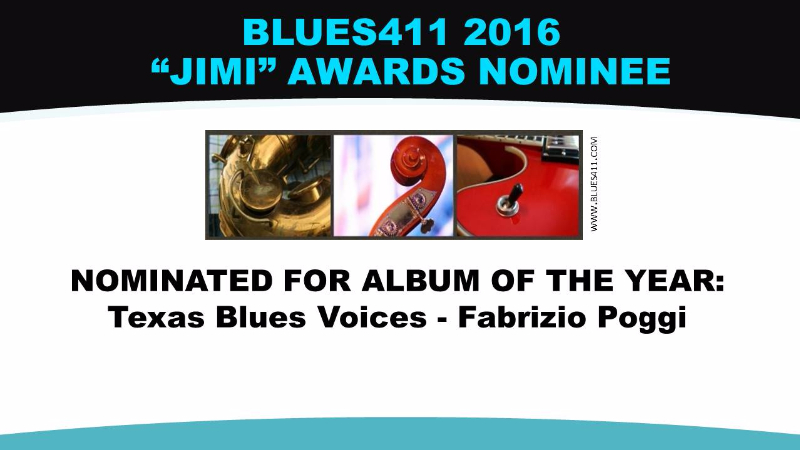 Fabrizio Poggi Texas Blues Voices 2016 JIMI AWARDS nominated among best 5 album