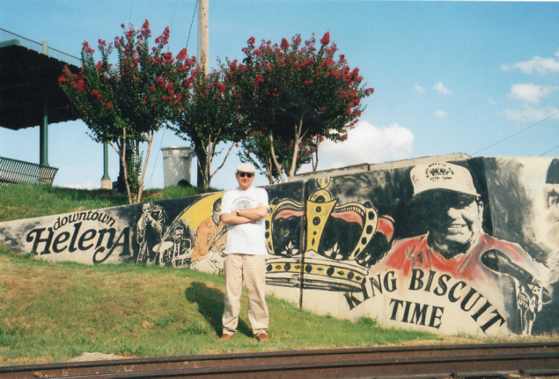 Fabrizio Poggi in front of King Biscuit Time murales Helena, Arkansas