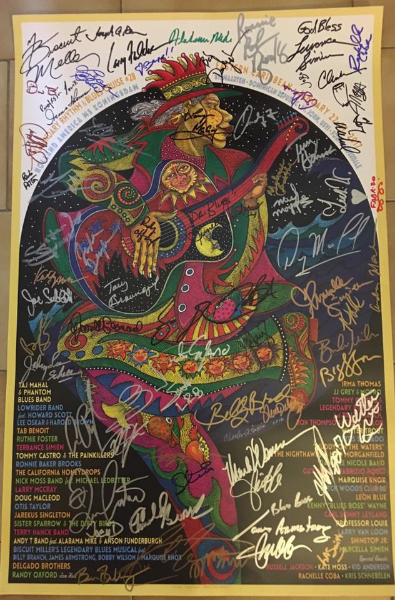 Legendary Blues Cruise poster with all artists autographs