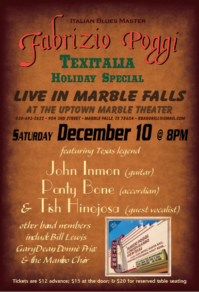 Fabrizio Poggi live at the Uptown Theater Marble Falls, Texas