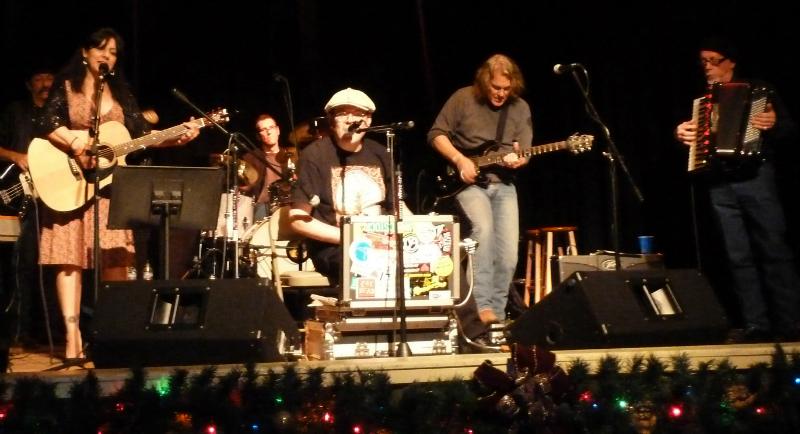 Fabrizio Poggi live at the Uptown Theater Marble Falls, Texas from left Donnie Price, Tish Hinojosa, Gary Dean, Fabrizio Poggi, John Inmon and Ponty Bone