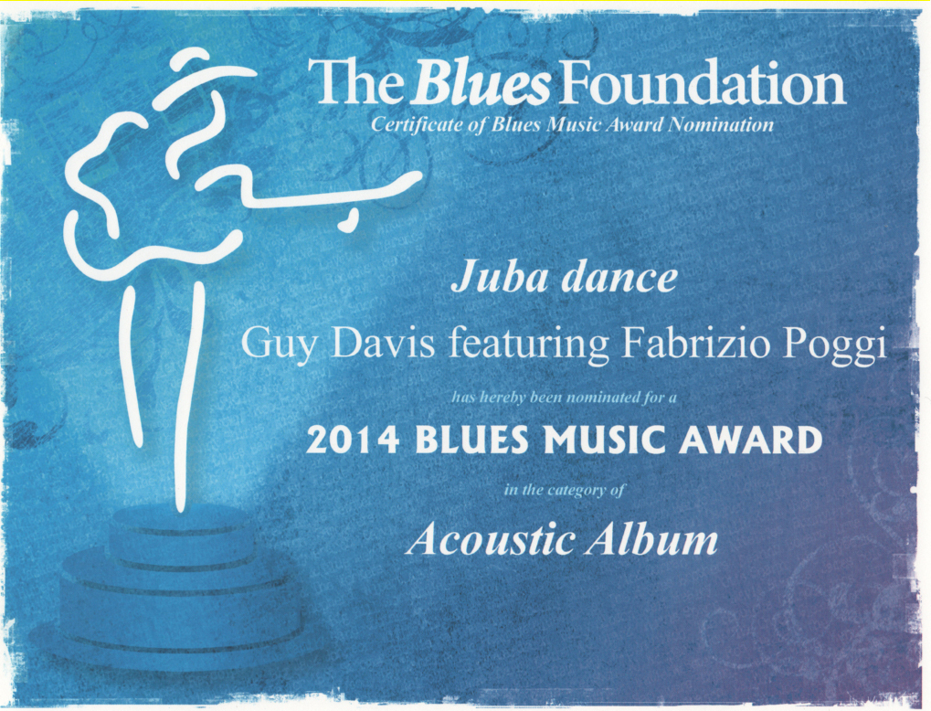 35TH BLUES MUSIC AWARD OFFICIAL NOMINATION CERTIFICATE