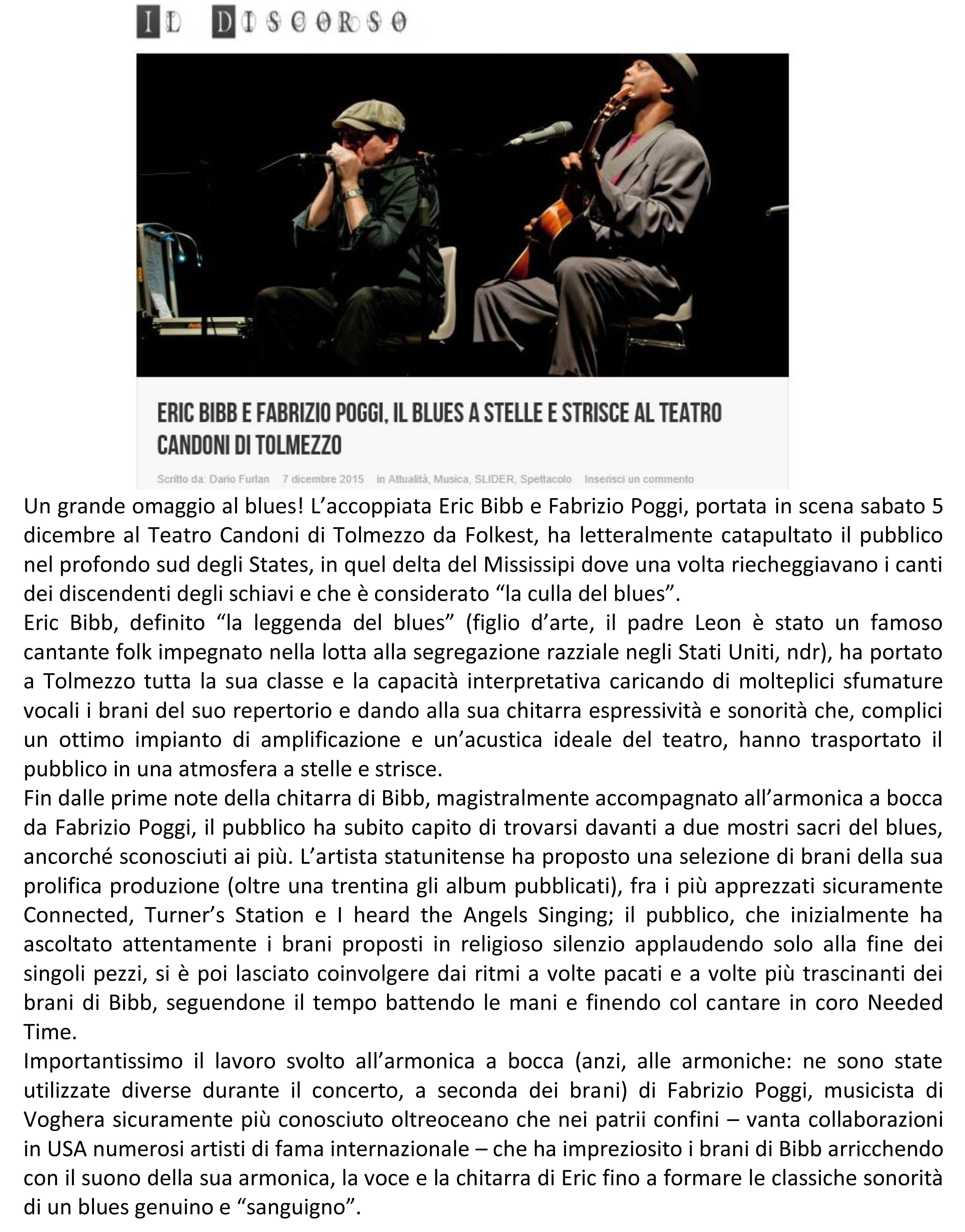 TOLEMZZO recensione concerto Fabrizio Poggi & Eric Bibb Un grande omaggio al blues copia